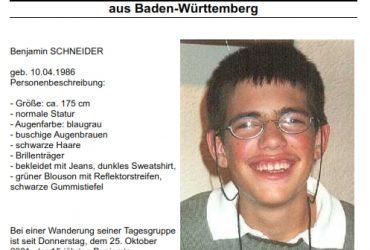 Benjamin Schneider vermisst seit 25.10.2001