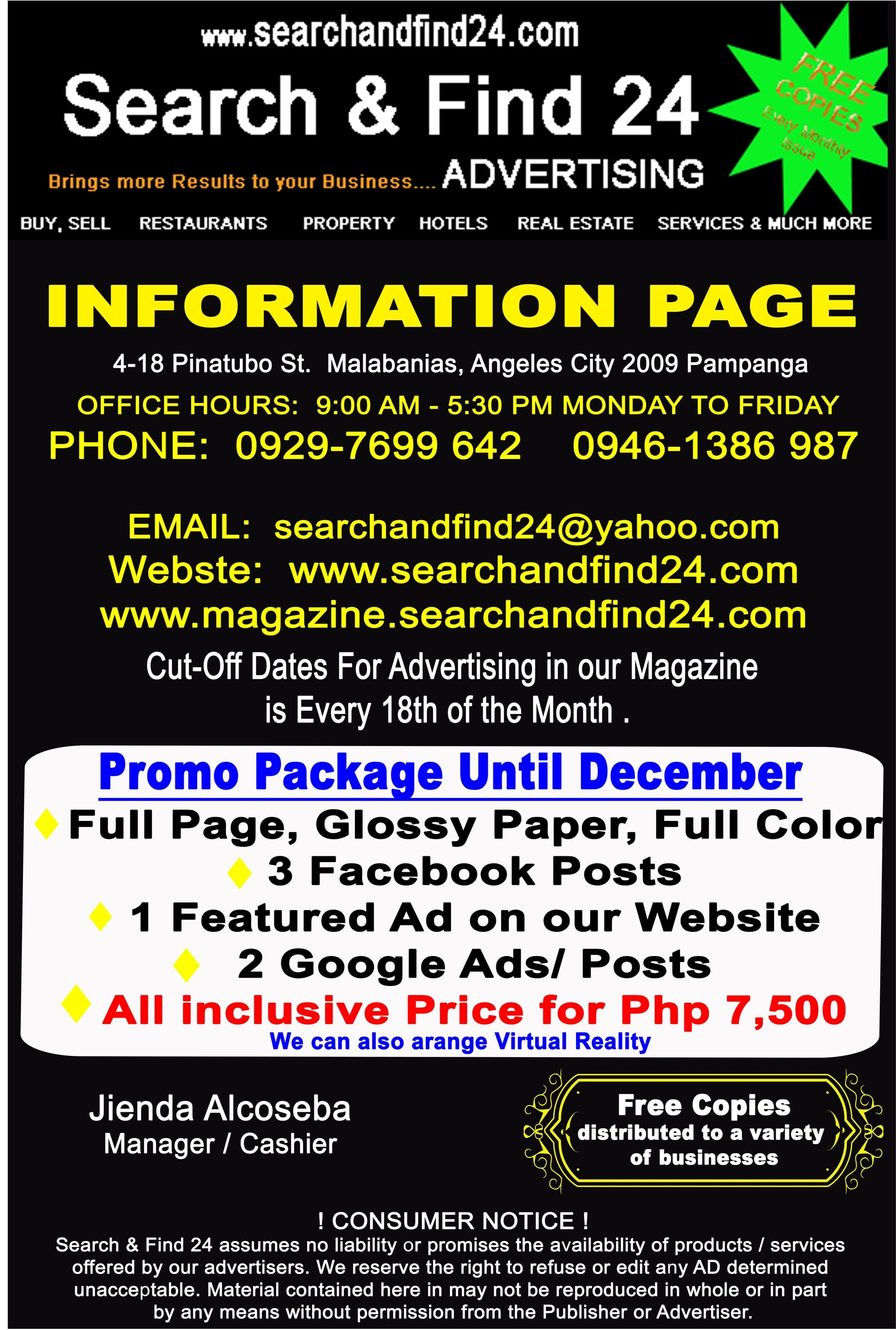 https://www.searchandfind24.com For all your Advertising Needs. Now in Bohol