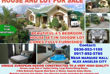 BEAUTIFUL 4/5 BEDROOM HOUSE SET IN 500SQM LOT, Angeles City Philippines