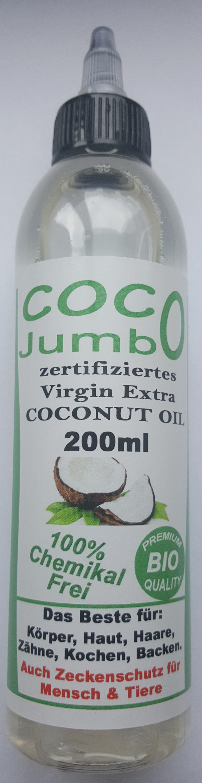 (Corona COVID 19) Jumbo Virgin Extra Coconut Oil 200ml 6,50 €