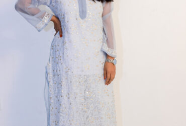 Buy Hand Embroidered Lucknowi Chikan Grey Georgette Kurti