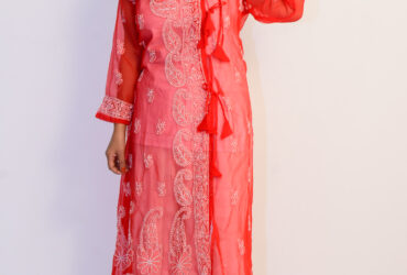 Buy Hand Embroidered Lucknowi Chikan Red And White Georgette Kurti